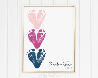 Pink Navy Nursery Art Baby Footprint Hearts, Blue Girls Room Decor, Personalized with your Child's Feet, 8x10 or 11x14 inches UNFRAMED