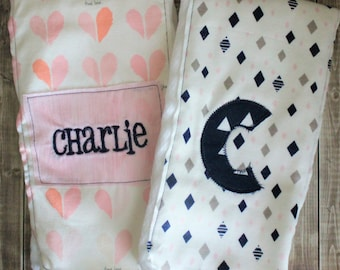 Pink and navy burp cloths, baby girl burp cloth set, custom initial monogrammed baby shower gift, personalized