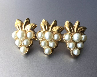 Coro Grape Pearl Clusters Brooch - Trio of Grapes with Faux Pearls - Signed Coro Brooch