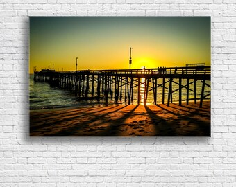 Balboa Pier Print on Canvas   Sunset over the Pier   Ocean Sunset   Newport Beach CA   Sunset Beach   Fine Art Print on Canvas