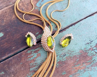 Vintage Unsigned Hobe' Mesh Necklace Earring Set Green Marquise AB Rhinestones