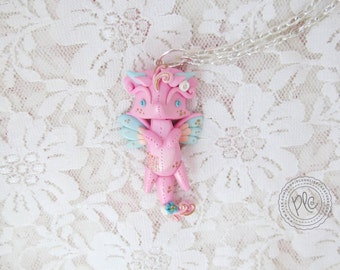 Cute Polymer Clay Pink Dragon Necklace