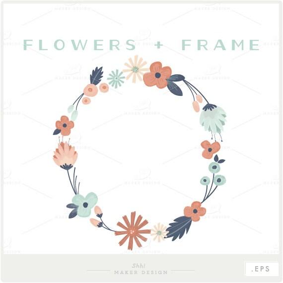 Floral Frame VECTOR Files Photo Overlay Flower Clip Art
