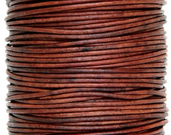 Round Leather Cord 1 mm Diameter Natural Red Brown (Length: 5 Yards)