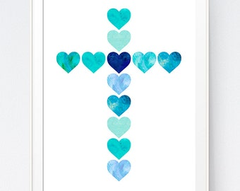 Blue Watercolor Cross of Hearts, Cross Heart Printable, Turquoise Christian Print, Something Blue Nursery Decoration, INSTANT DOWNLOAD