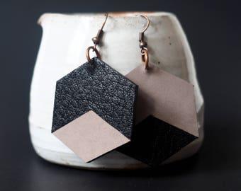 Two-tone leather earrings