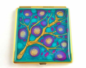 Square Compact Mirror Hand Painted Enamel Fuchsia and Turquoise Blossom Inspired Glossy Finish Custom Colors and Personalized Options