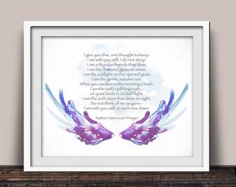 Native American Prayer Art - Angel Wings - Serenity Prayer - Sympathy Gift - Spiritual Quote - Soul Search Prayer - Nature Inspired