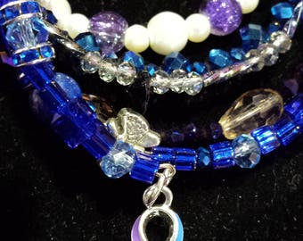 Blue and Purple Awareness Ribbon Wraparound Bracelet