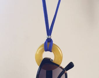 CLEARANCE. Sunglass Holder Lanyard. Yellow Agate Circle Necklace. Loop  Eyeglass Holder. Suede  Eyeglass Lanyard. Chic Sharp Contemporary.