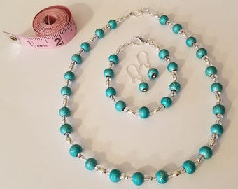 Aqua Blue and Silver Beaded Jewelry Set