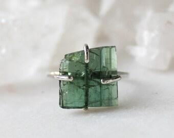 tourmaline ring, tourmaline crystal, sterling silver, silver ring, raw tourmaline, gifts for her, raw gemstone jewelry