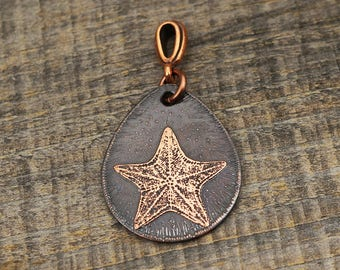 Copper starfish pendant, flat etched copper teardrop sea jewelry, optional necklace, 29mm