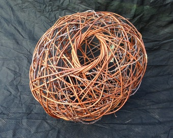 Original woven willow and alder twigs creative art ball form // natural sculpture with flowing lines and delicate textures for the home