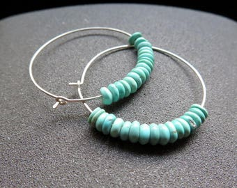 natural turquoise earrings. sterling silver hoops. turquoise jewelry. Canadian jewellery.