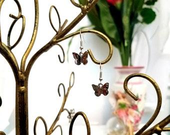 Silver Butterfly Earrings by Anne O'Brien Design / Silver Toned Charm Wire Earrings/ Butterflies