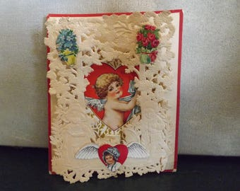 Vintage Lace Valentine Card Cupid 3D 1920