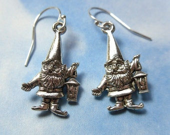 Gnome Twins Earrings - silver plated charms-  sterling silver earwires -Free Shipping USA