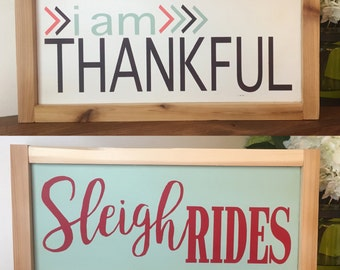 Thanksgiving & Christmas Sign   Two Sided Sign   Holiday Decor   I am Thankful   Sleigh Rides   Rustic Wood Sign   Home Decor   Shelf Sitter