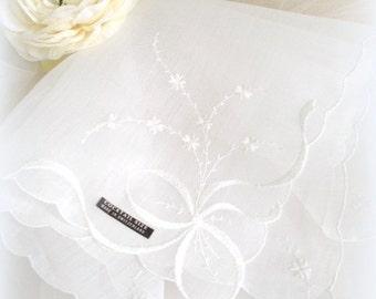 "Vintage Wedding Handkerchief White Switzerland Wedding Bride's Hankie Bridesmaid Hanky,  Scallops, Flowers 15""  Never Used w/Tag"