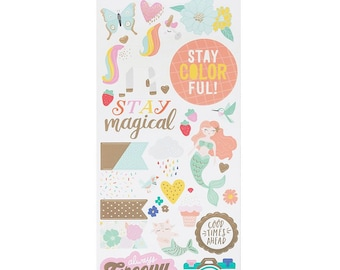 Dear Lizzy Stay Colorful Accent and Phrase Cardstock Stickers -- MSRP 4.00