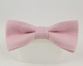 Handmade Pink Irish Linen Clip on Bow Tie  from Vintage Fabric Bowtie