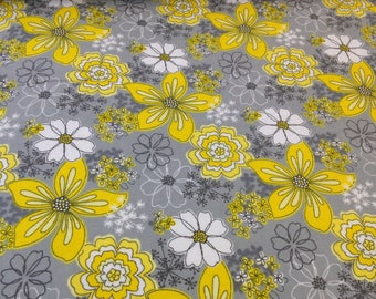Yellow gray white flower fabric, white daisy, Camelot fabric, gray yellow floral print, soft quilting flannel fabric