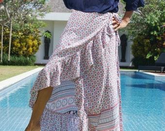 SALE! Skirt Maxi/Wrap skirt/Frill long skirt/Long Summer Skirt/Bohemian frill skirt/Belted wrap skirt * LOUISE Wrap SKIRT
