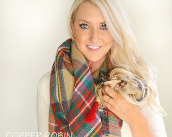Sale!! Plaid blanket scarf with suede wrapped tassels oversized scarf