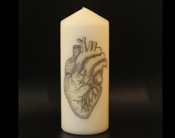 Anatomical Heart, Anatomy, Goth Decor, Pillar Candle, Anatomical Decor