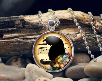 Cat Necklace Pendant Music Notes Gift for Her Cat Lover Gift