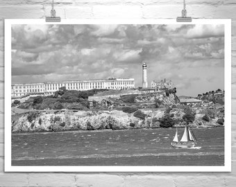 Alcatraz Photograph, Black and White, San Francisco Photograph, Bay Area Picture, Sailing Art, Nautical Art, Sailboats, California Gift