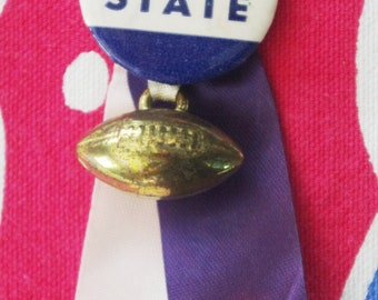 Vintage 1950s Football Pin with Ribbon Streamers: Penn State