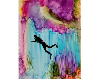 Alcohol ink print 'Beneath the Sea'