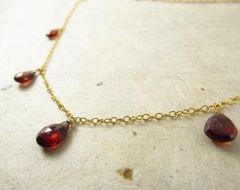 Garnet necklace January birthstone gold blood red simple modern