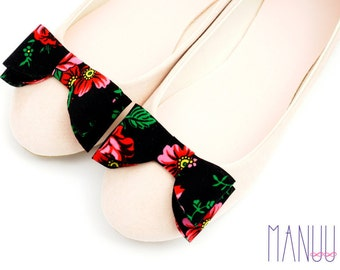 Black bows with flowers - shoe clips Manuu