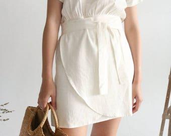 NOVA DRESS -off-white linen wrap dress