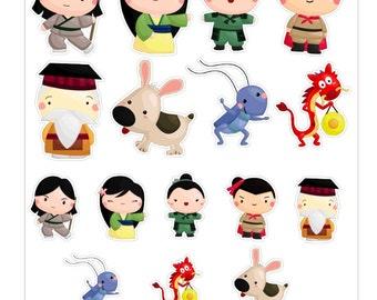 Kawaii Mulan Stickers // KC011