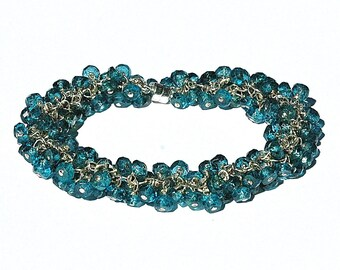 Teal Blue Topaz Cluster Bracelet / Gemstone / Sterling Silver / Wire Wrapped / Everyday Jewelry / Gifts For Her / Peacock / OOAK