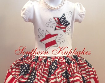 RWB PATRIOTIC RED WHiTE BLuE Twirl Dress Birthday Custom BOUTiQUE Pageant Party All Sizes July 4th fourth Stars Stripes Fireworks
