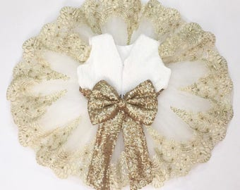 White dress | gold dress |  christmas dress | party dress | flower girl dress