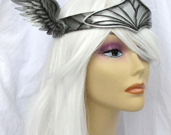 Valkyrie, Viking, Leather Crown, Silver Angel Wing Crown, Circlet, Mardi Gras Costume, Theater Prop, Accessory, Thor, LARP