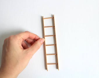 Miniature Ladder, Dollhouse Ladder, Bunk Bed Ladder, Wooden Ladder, Tiny Ladder, Miniature Bedroom, Dollhouse Bedroom, Miniature Library