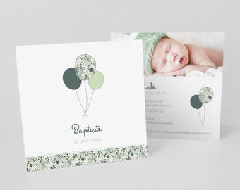 Announcement of birth or christening balloons green Trio - model Baptist