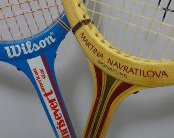 Vintage Wilson/Spalding Martina Navratilova & Chris Evert Wooden Tennis Racquet - Pair Of 2