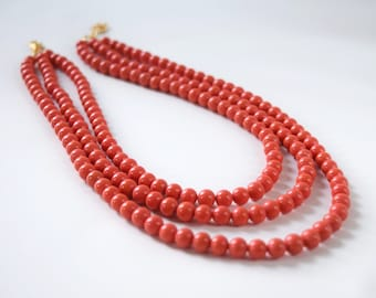 Regency Coral Necklace, Coral Beaded Necklace, Triple Strand Necklace, Faux Coral Necklace, Orange Coral Jewelry, Regency Necklace, Historic