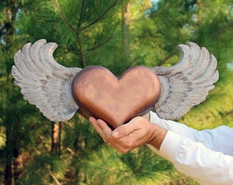 Cremation Urn, Artistic Ceramic Sculpture- Large Flying Heart with Wings- Unique Personalized Decorative Funeral Urns for Human Ashes