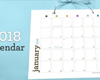 2018 Printable Calendar   Download