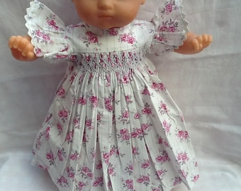 Doll clothes, dress has smocked flowers pink and grey 36 cm