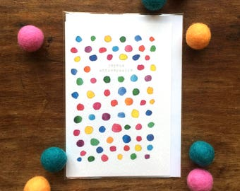 Birthday Card - Joyeux Anniversaire - Multicolour Dots - Illustration